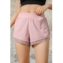 Summer Plain Elastic Waist Quick Dry Breathable Fake Two Piece Track Shorts