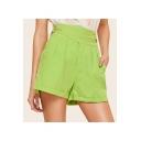 Summer Hot Stylish Green High Waist Smocked Rolled Hem Eyelet Bucket Embellished Straight Shorts