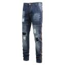 Men's Popular Fashion Contrast Stripe Side Knee Cut Dark Blue Frayed Ripped Jeans