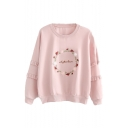 Girls Sweet Circle Letter Floral Embroidery Ruffled Hem Long Sleeve Pullover Sweatshirt