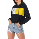 Womens Navy Long Sleeve Colorblock Loose Pullover Hoodie