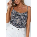 Summer Solid Color Sleeveless Straps Flower Printed Sexy Chiffon Cami Top