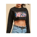 Cool Special Black Long Sleeve Round Neck Figure Printed Cropped Sweatshirt for Lady