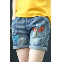 Blue Vintage Drawstring Cord Rolled Hem Distressed Butterfly Embroidered Straight Denim Shorts