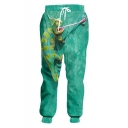 Hot Fashion Green Lizard 3D Printed Drawstring Waist Casual Loose Sweatpants