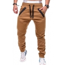 Men's Popular Fashion Pleated Patched Zippered Pocket Drawstring Waist Casual Slim Cotton Pencil Pants