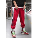 Men's Street Style Fashion Letter Stripe Printed Casual Loose Track Pants