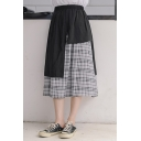 Chic Personalized High Waist Check Printed Asymmetric Patchwork Midi Flared A-Line Skirt