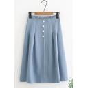 Summer Hot Popular Elastic Waist Plain Button Front Midi Flared A-Line Skirt