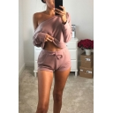 Off Shoulder Long Sleeve Cropped Tee With Drawstring Waist Shorts Loose Two Piece Set