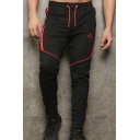 Popular Fashion Colorblock Logo Embroidery Drawstring Waist Men's Fitness Sweatpants Pencil Pants