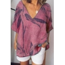 Summer Vintage Short Sleeve V Neck Leaf Printed Casual Loose Cotton Linen T-Shirt