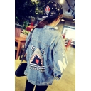 Womens Funny Cartoon Shark Printed Back Button Down Blue Denim Jacket