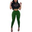 Womens Night Club Sexy Logo Print Sheer Mesh Crop Top with Skinny Pants Two-Piece Set