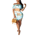 Summer Fancy Blue Leaf Printed Tied Off Shoulder Crop Top with Mini Bodycon Skirt Two-Piece Co-ords