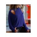 Womens New Trendy High Neck Long Sleeve Simple Plain Cutout Loose Leisure T-Shirt