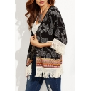 Summer Womens Fashion Tribal Pattern Tassel Hem Beach Kimono Blouse Top