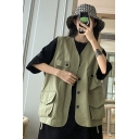 Womens Cool Simple Solid Color Multi-Pocket Sleeveless Button Down Military Vest Jacket