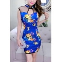 Womens Sexy Night Club Mesh Panel Floral Printed Mini Bodycon Cheongsam Dress
