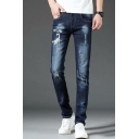 Men's New Fashion Letter THE END Printed Blue Casual Slim Frayed Ripped Jeans