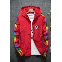 New Trendy Unique Letter Y Logo Printed Colorful Long Sleeve Hooded Zip Up Casual Track Jacket for Men