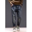 Men's Popular Fashion Dark Blue Washed Regular Fit Distressed Jeans