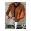 New Trendy Plain Long Sleeve Stand-Collar Zip Up Casual Jacket For Men