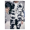 Mens New Trendy Lapel Collar Long Sleeve Print Button Closure Slim Fit Longline Black Trench Coat