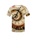 Summer Hot Fashion 3D Time Pattern Round Neck Short Sleeve khaki T-Shirt For Men