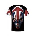 Summer New Trendy Skull National Flag Short Sleeve Round Neck Casual Black T-Shirt