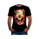 Men's Hot Fashion Skull Fire Print Round Neck Short Sleeve T-Shirt in Black