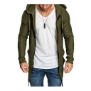 Men's Basic Fashion Simple Plain Long Sleeve Longline Slim Fit Zip Up Hoodie