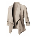 Womens New Stylish Simple Plain Lapel Collar Long Sleeve Open Front Fitted Blazer Coat