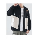 Mens Hot Fashion Hip Hop Style Colorblock Lapel Collar Pockets Detail Long Sleeve Work Jacket