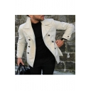Men's Simple Lapel Collar Long Sleeve Plain Single Breasted Slim Fitted Short Trench Coat