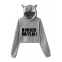 Dunder Mifflin Simple Letter Printed Ear Design Long Sleeve Crop Hoodie