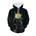 Hot Popular Game Theme Figure Pumpkin Fire 3D Printed Long Sleeve Black Loose Drawstring Hoodie