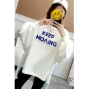 Stylish High Low KEEP MOVING Letter Print Round Neck Long Sleeve Loose Sweatshirt
