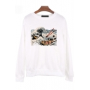 New Trendy Ukiyo-e Style Long Sleeve Round Neck Wave Sushi Print White Pullover Sweatshirt