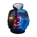 Christmas New Fashion Santa Claus 3D Printed Blue Long Sleeve Drawstring Hoodie