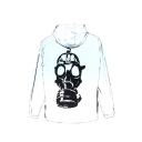 Mens Hot Popular Reflecting Skull Print Long Sleeve Hooded Zip Up White Jacket