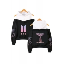 Trendy Kpop Logo Floral Letter Printed Cold Shoulder Long Sleeve Pullover Sweatshirt