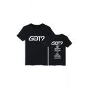 Fashion Kpop Boy Band Letter Printed Round Neck Short Sleeve T-Shirt