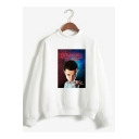 Hot Popular Stranger Things Figure Print Mock Neck Long Sleeve Pullover Sweatshirt