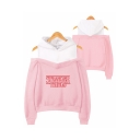 Popular Stranger Things Letter Print Cold Shoulder Long Sleeve Pullover Sweatshirt