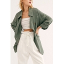 Solid Color Lapel Collar Adjustable Long Sleeve Drawstring Back Trench Coat