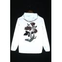 Mens Popular Reflecting Floral Print Long Sleeve Windproof Hooded Zip Up Jacket