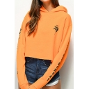 Rose letter Printed Long Sleeve Orange Crop Hoodie
