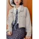 Simple Lapel Collar Flap Pockets Button Placket Cropped Denim Jacket Coat