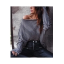 Womens Fancy Striped Print Oblique Round Neck Long Sleeve Casual Loose Grey And Blue T-Shirt